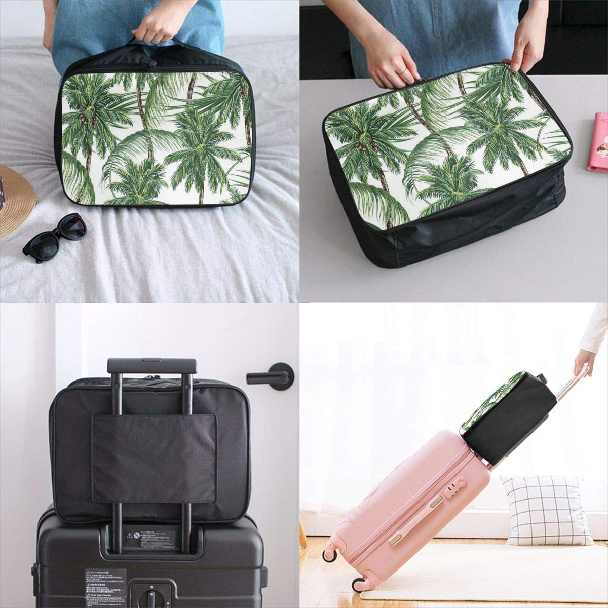 Palm Tree Leaves Travel Lightweight Waterproof Foldable Storage Carry Luggage Duffle Tote Bag Large Capacity In Trolley Handle Bags 6x11x15 Inch