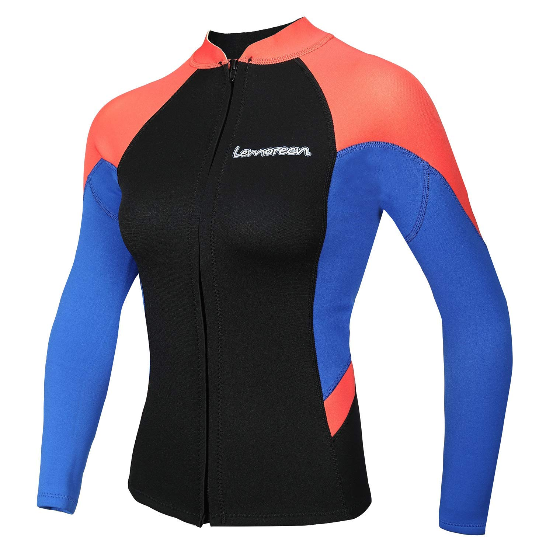 Lemorecn Women's 2mm Wetsuits Jacket Long Sleeve Neoprene Wetsuits Top (2096bluered-12) by Lemorecn