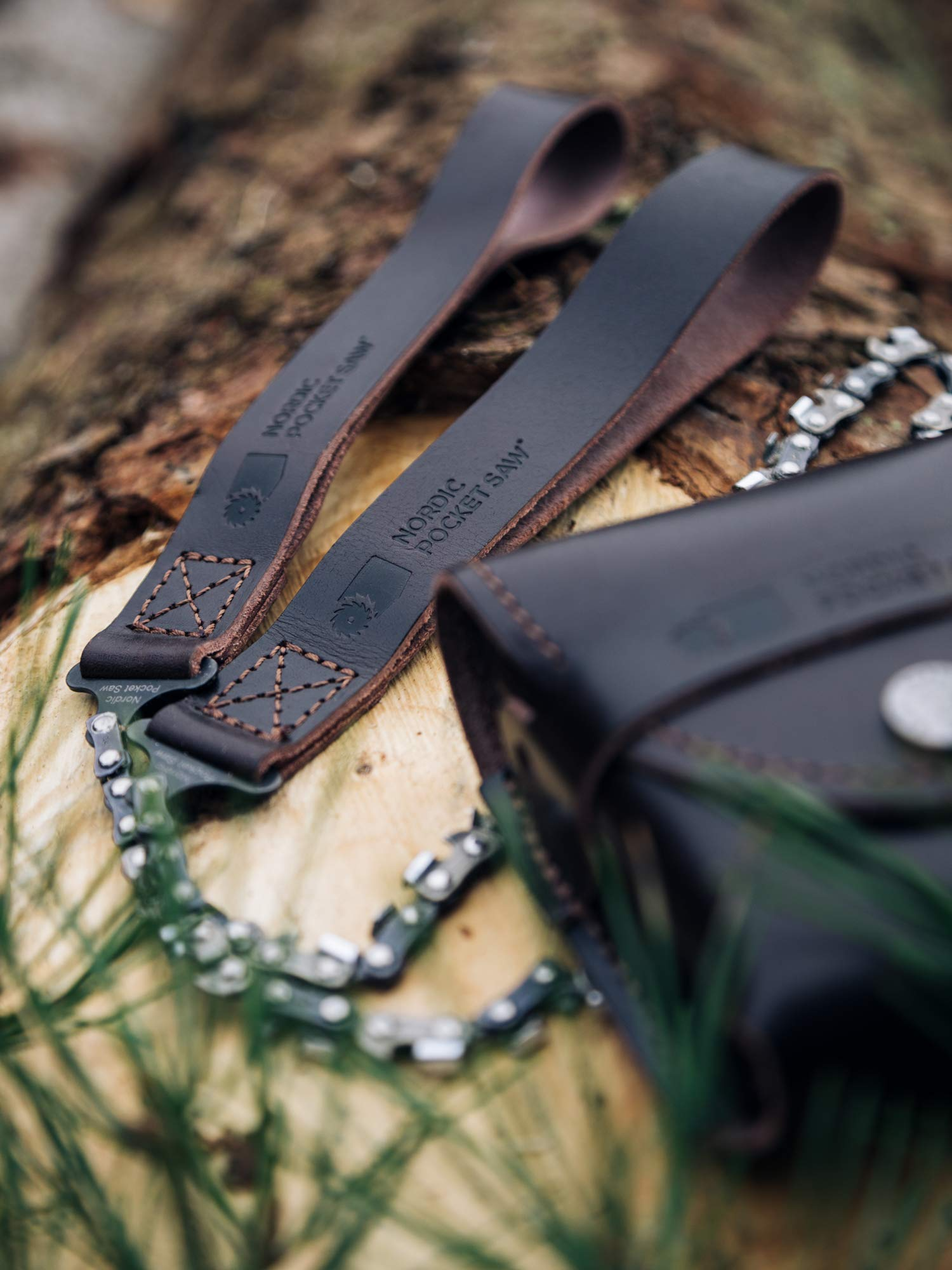 Nordic Pocket Saw - Premium - 100% Organic Swedish Leather. Compact folding camping chainsaw. Survival handsaw kit with leather pouch for hunting, hiking and outdoors by Nordic Pocket Saw (Image #9)