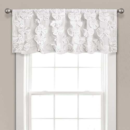 Lush Decor, White Riley Valance Textured Bow Tie Window Kitchen Curtain Single , 18 x 52 L