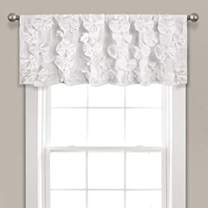 "Lush Decor Riley Valance Textured Bow Tie Window Kitchen Curtain (Single), 18"" x 52"", White, L"