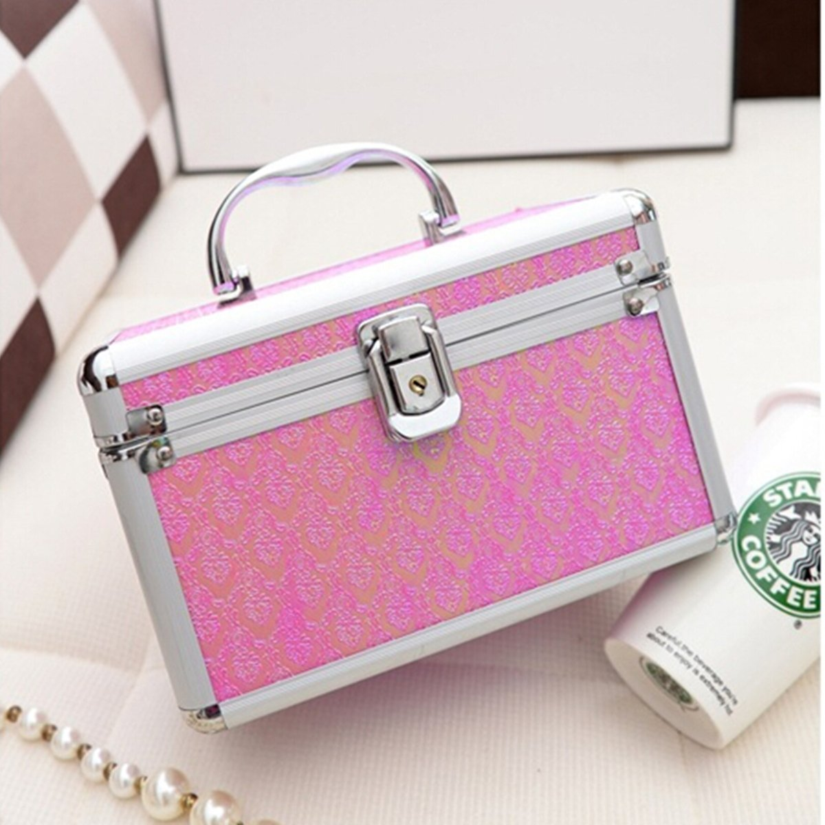 Frcolor Aluminium Make-up Kosmetik Vanity Case Kosmetikbox Organizer Container Silber