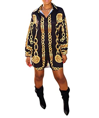 IyMoo Womens Gold Chains Print Button Down Collar Long Shirt Dress Blouse  Mini Dress  With 6012bfd57