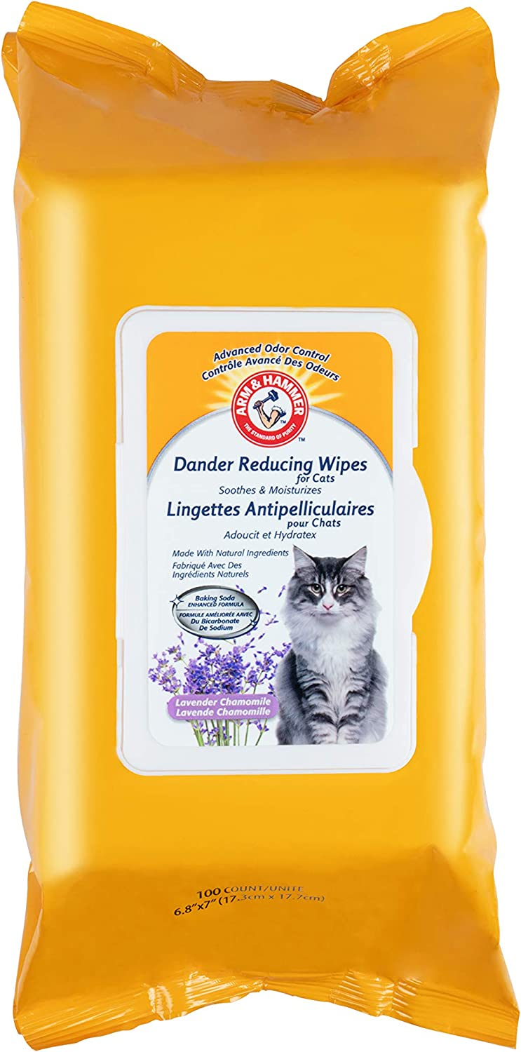 Arm & Hammer For Pets Dander Reducing Cat Wipes | 100 Count Lavender Scent Cat Dander Wipes for All Cats with Baking Soda to Soothe and Moisturize | Cat Wipes Made with Advanced Odor Control