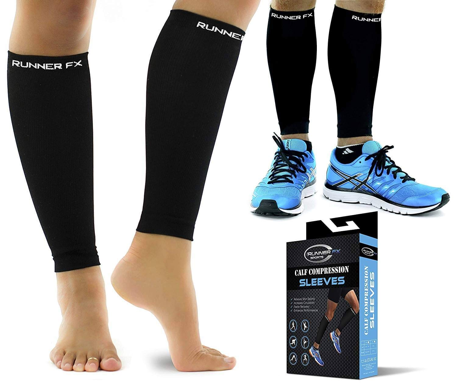 Pro Calf Compression Sleeve Men and Womens (20-30mmHg) - Shin Splint Leg Compression Sleeve for Instant Leg Pain Relief, Circulation, Recovery Socks - Compression Sleeves for Runners, Cramps by RUNNER FX SPORTS