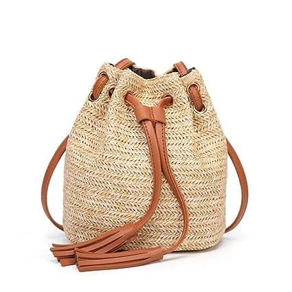 63d83de0ec Paymenow Women Girls Drawstring Backpack Bag Straw Tassels Handmade String  Bag Cinch Sack Sackpack