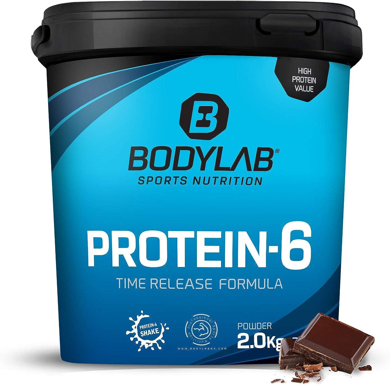 Protein-6 de Bodylab24 2 kg | Polvo de proteína multicomponente con 6 fuentes de proteína | Chocolate