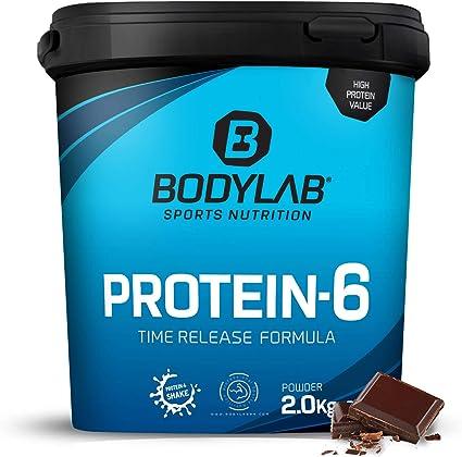 Protein-6 de Bodylab24 2 kg   Polvo de proteína multicomponente con 6 fuentes de proteína   Chocolate