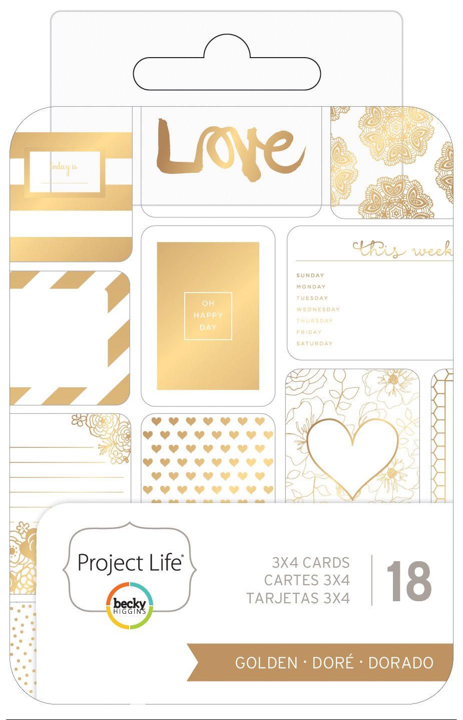 Becky Higgins - Project Life - 3 x 4 - Theme Cards - Golden (8 Pack)
