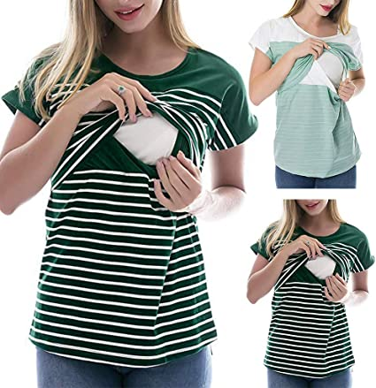 Camiseta de Mujer Lactancia Rayas Maternidad Camisa premamá ...
