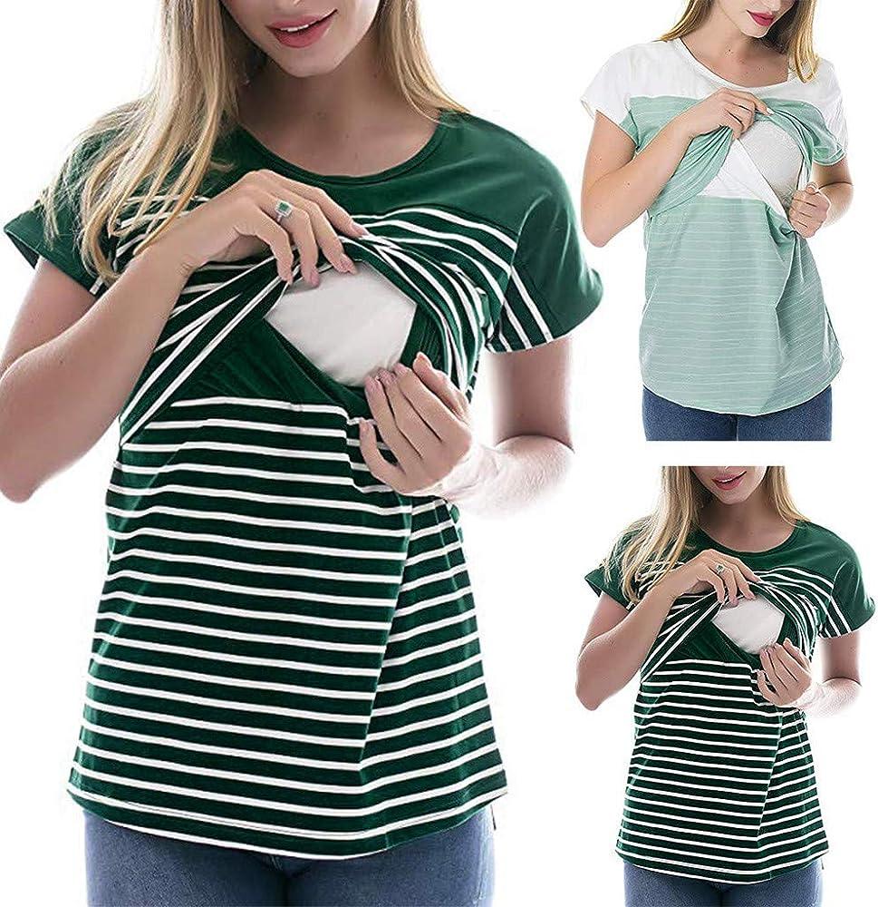 Camiseta de Mujer Lactancia Rayas Maternidad Camisa premamá Blusa Manga Corto Tops Camisa de Embarazo Tallas Grandes Breastfeeding t-Shirt: Amazon.es: Ropa y accesorios