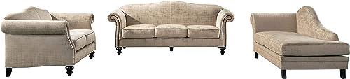 Acanva Velvet Living Room Sofa Set, 3 Piece, Almond