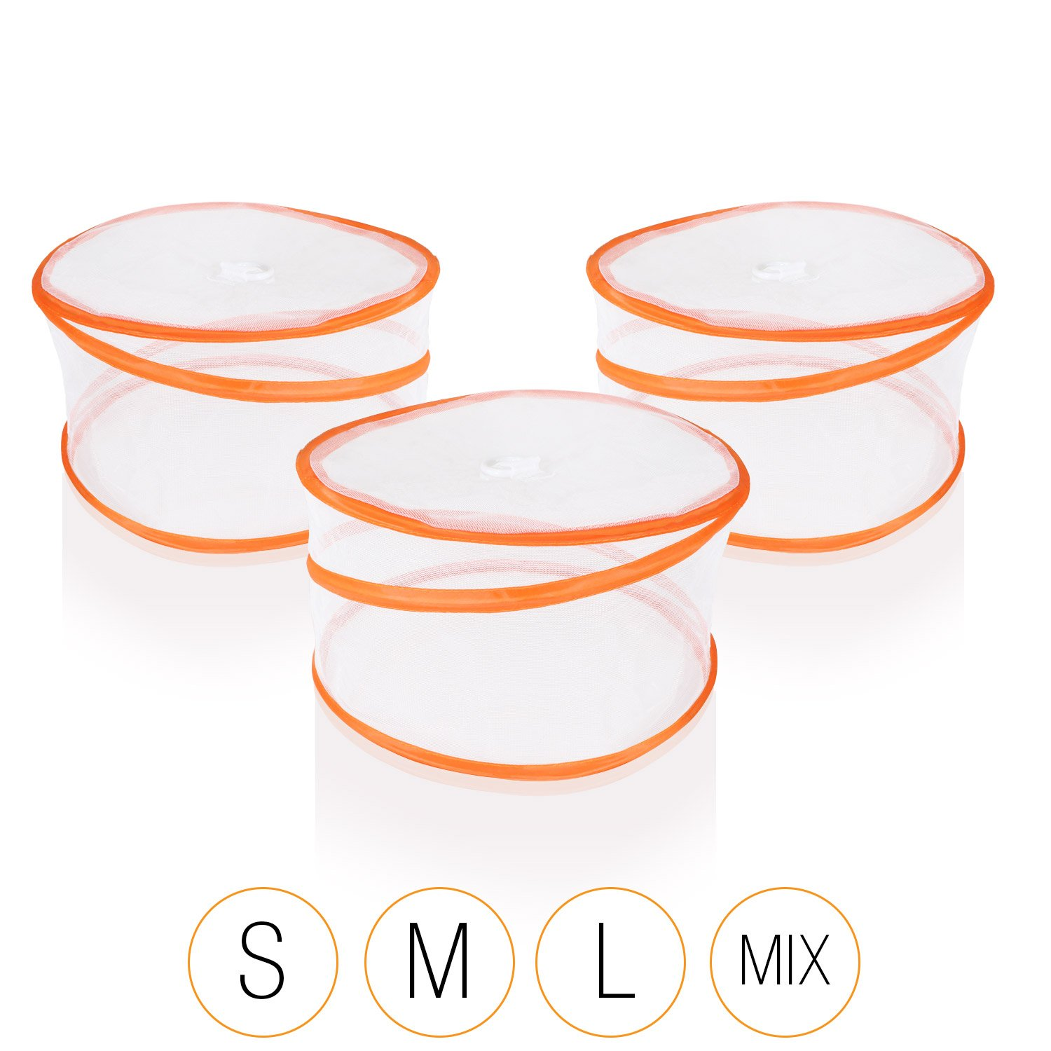Amazy Collapsible Food Cover (Set of 3) - Protects Food And Drinks From Bugs (Small | Ø 30 cm, Orange)