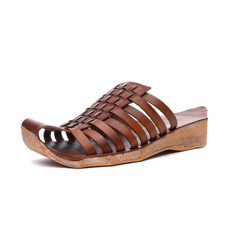 Braun Frauen Elegante Sandalen mit geschlossenen Zehen mit Rindsleder gewebt Ober Sommer Bequeme Keilabsatz Slipper Flache Schuhe Rutschfeste Gummi plattform