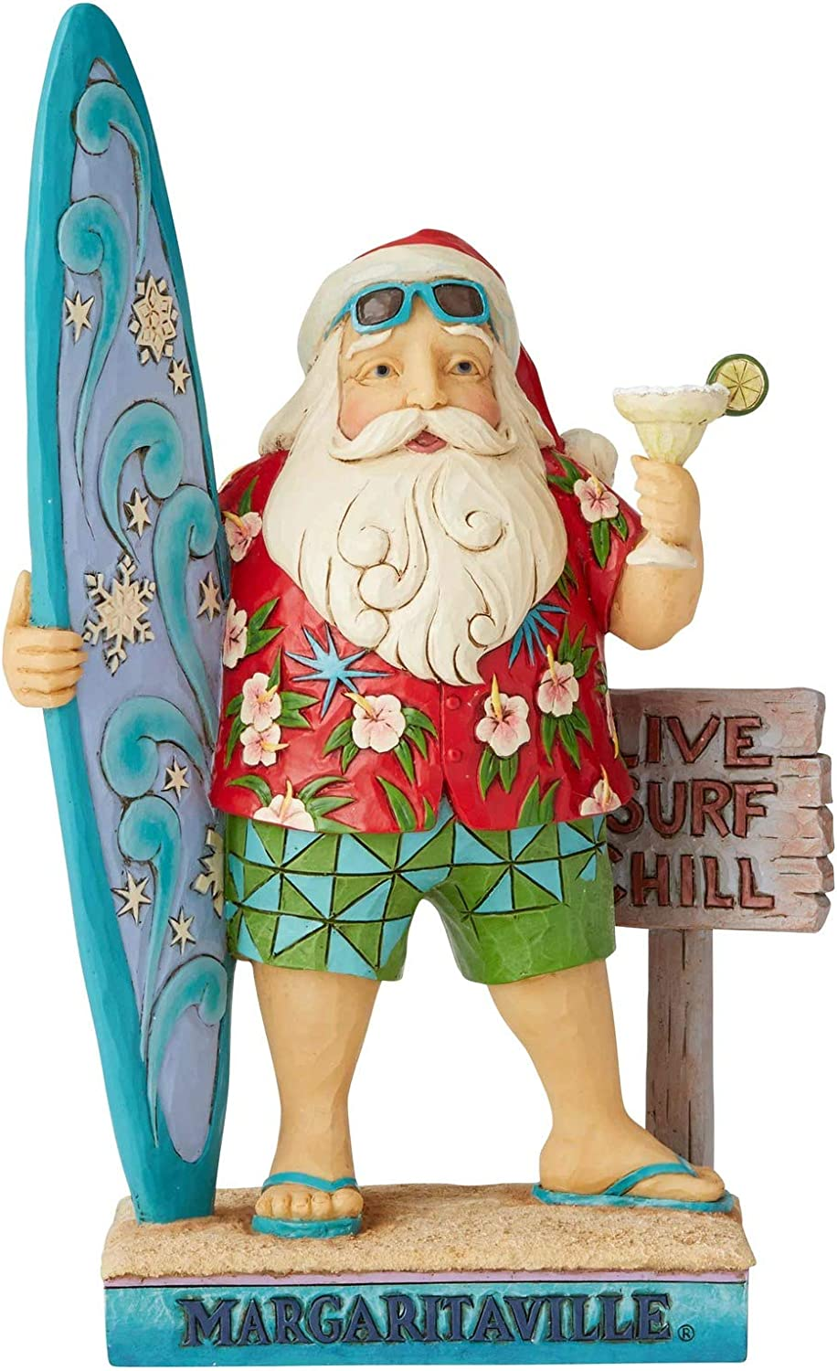 Enesco Margaritaville by Jim Shore Santa with Surf Board Figurine, 10.5""