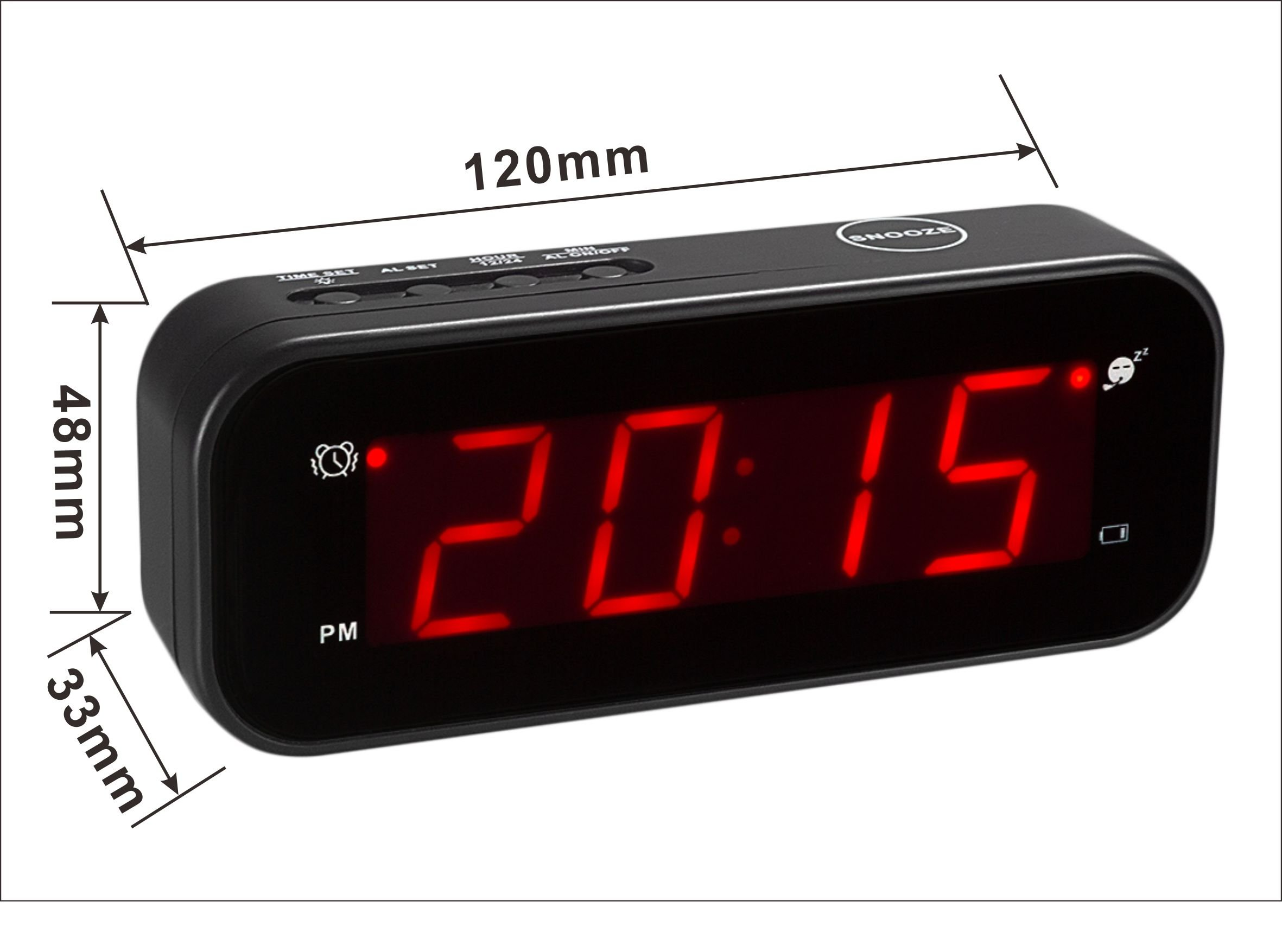 kwanwa small digital alarm clock for travel with led. Black Bedroom Furniture Sets. Home Design Ideas