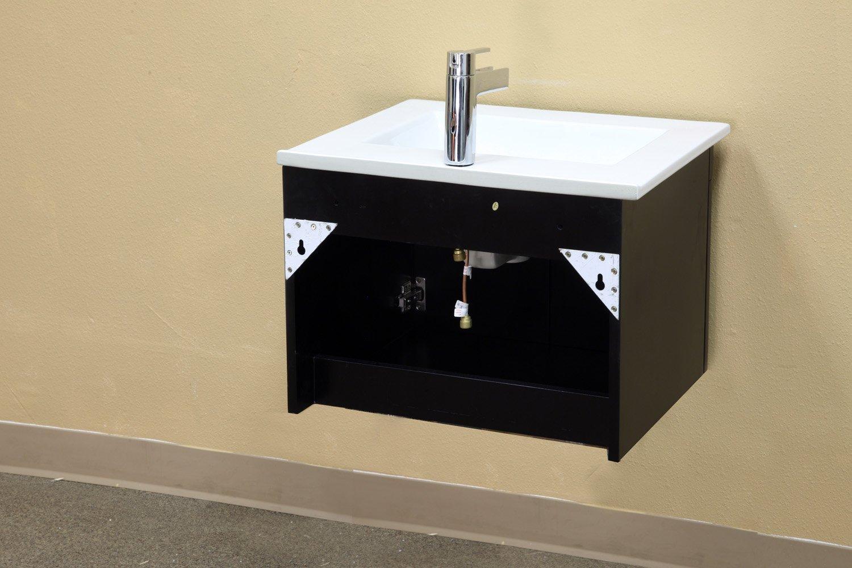 Bellaterra Home 203172-S 24.4-Inch Single Wall Mount Style Sink Vanity, Wood, Black