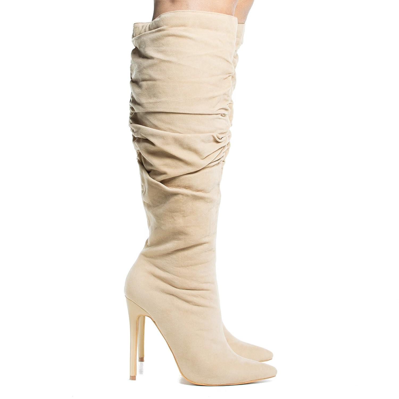 8b0f995d50c Amazon.com   High Heel Stiletto Knee High Dress Boots W Slouchy ...