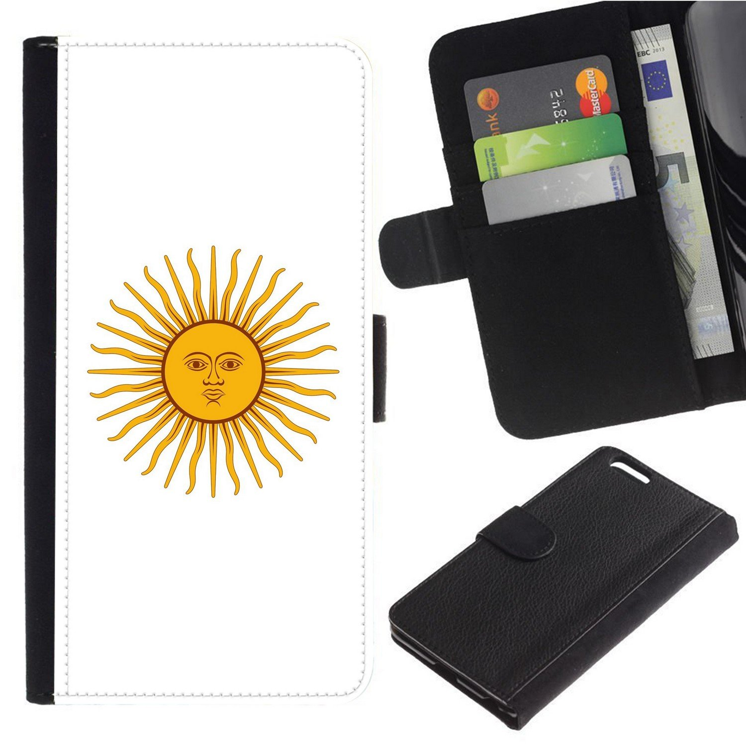 [Solar Design from Flag of Argentina] For Motorola NEXUS 6/Moto X/Moto X Pro, Flip Leather Wallet Holsters Pouch Skin Case