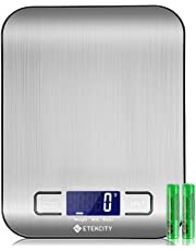 ETEKCITY Báscula Digital de Cocina, báscula electrónica de 5 kg con Gran Pantalla LCD, báscula de Cocina Ultrafina de Acero Inoxidable, medición de líquido, Alta precisión hasta 1 g, función de Tara