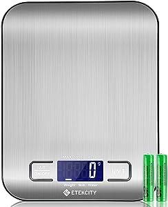 Balance Cuisine Balance de Précision, Balance de Cuisine Numérique en Acier Inoxydable de 5kg, Ultra-Mince de 1,5 cm, Mesure du Liquide, LCD Rétroéclairé, Auto-arrêt
