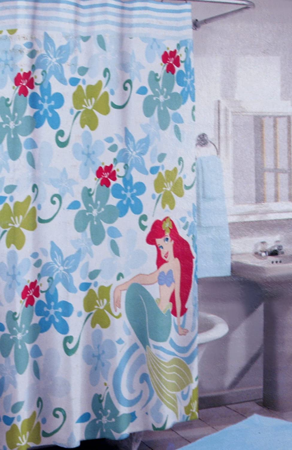 Amazon.com: Disneyu0027s Little Mermaid 100% Cotton Shower Curtain: Home U0026  Kitchen