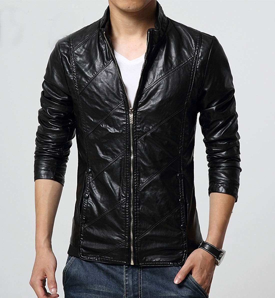 chouyatou Mens Cool Stylish Slim Fit Stand Collar Lightweight Bomber Faux Leather Jacket Coat