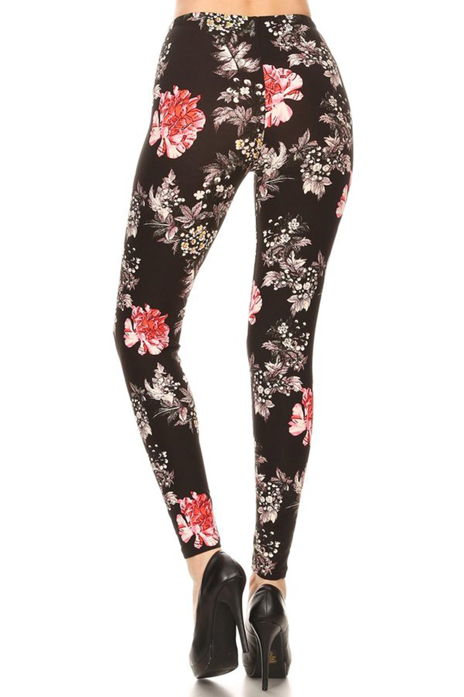 Leggings Mania Women's Plus Floral Print High Waist Leggings Black Multi, Plus One Size Fits Most (12-22), Floral by Leggings Mania (Image #3)