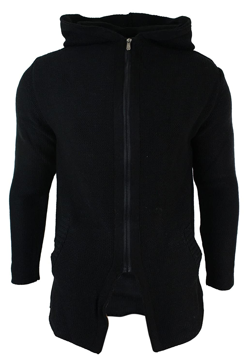 Mens Slim Fit Long 3/4 Jumper Cream & Black Zip Hoodie Wool Knitted Cardigan