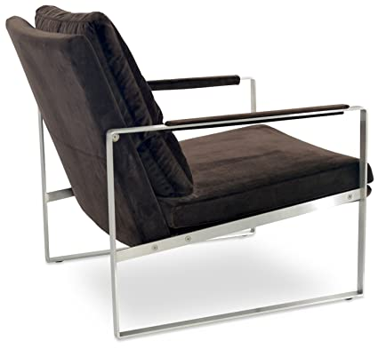 Soho Concept Zara SS EV Arm Chair With Stainless Steel Base, Espresso Velvet