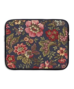 D-MUSE Flower Pattern Computer Storage Bag Portable Waterproof Neoprene Laptop Sleeve Bag Zipper Pocket Cover 15 Inch For MacBook Pro, MacBook Air, Notebook