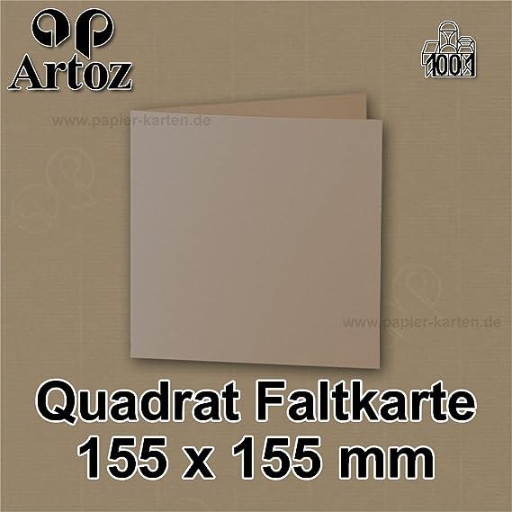 - 155 x 155 mm Karten blanko zum selbstgestalten Creme 220 g//m/² gerippt ARTOZ 50x quadratische Faltkarten Ivory-Elfenbein