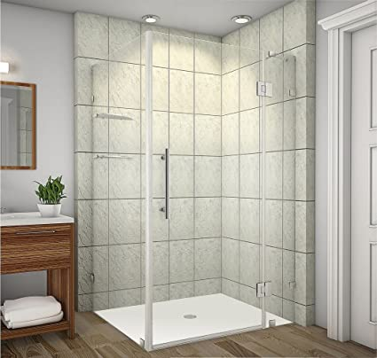 Aston Avalux GS Completely Frameless Shower Enclosure With Glass Shelves,  48u0026quot; X 36u0026quot;