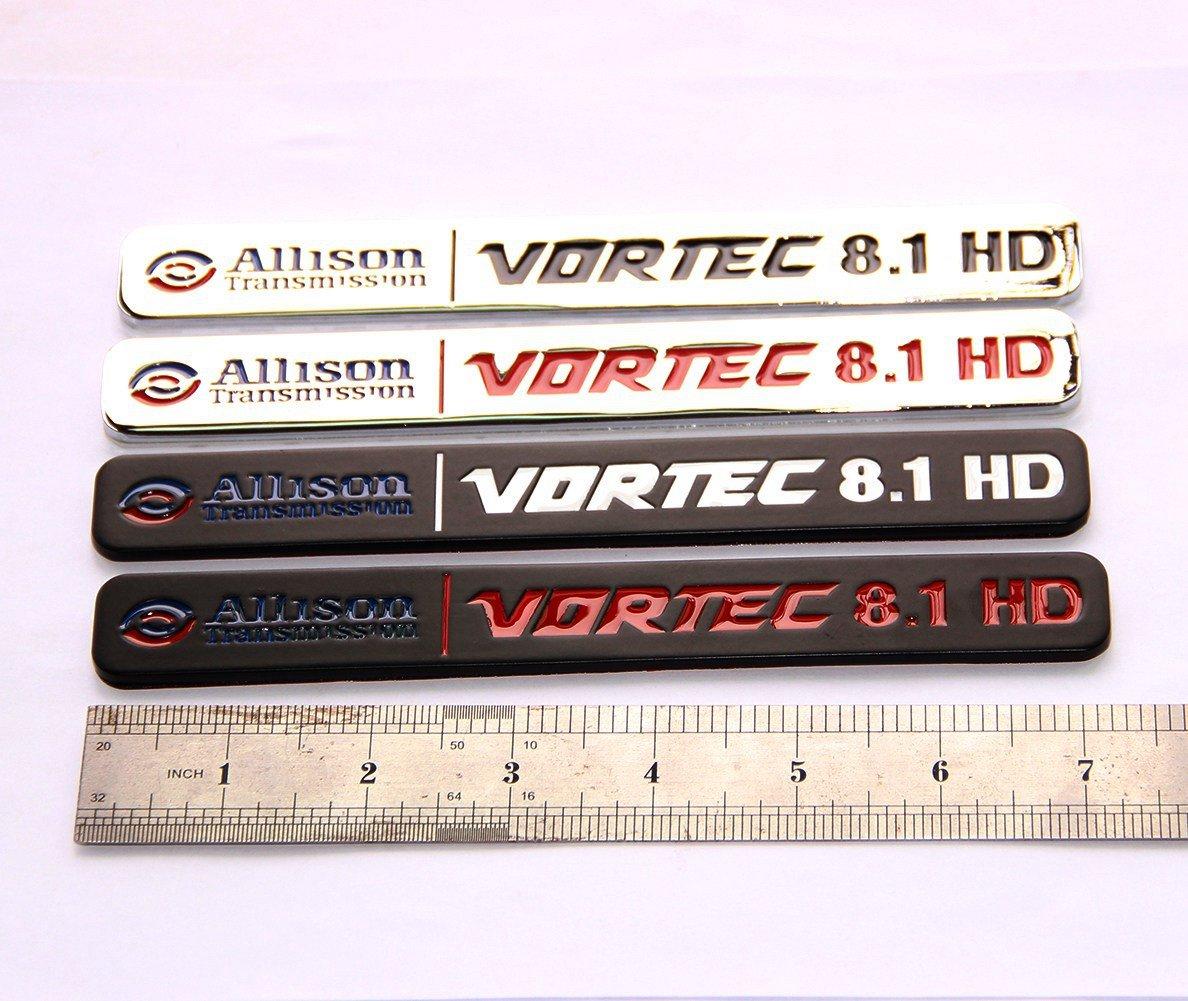 Yoaoo 2x OEM Allison Transmission 8.1 Hd 8.1L Vortec Badges Emblems Alloy for 2500Hd 3500Hd Gmc Silverado Sierra Truck Black