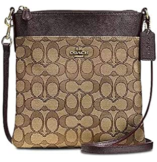 c528422b Coach Signature File Crossbody Bag Purse Handbag (Brown/Carmine ...