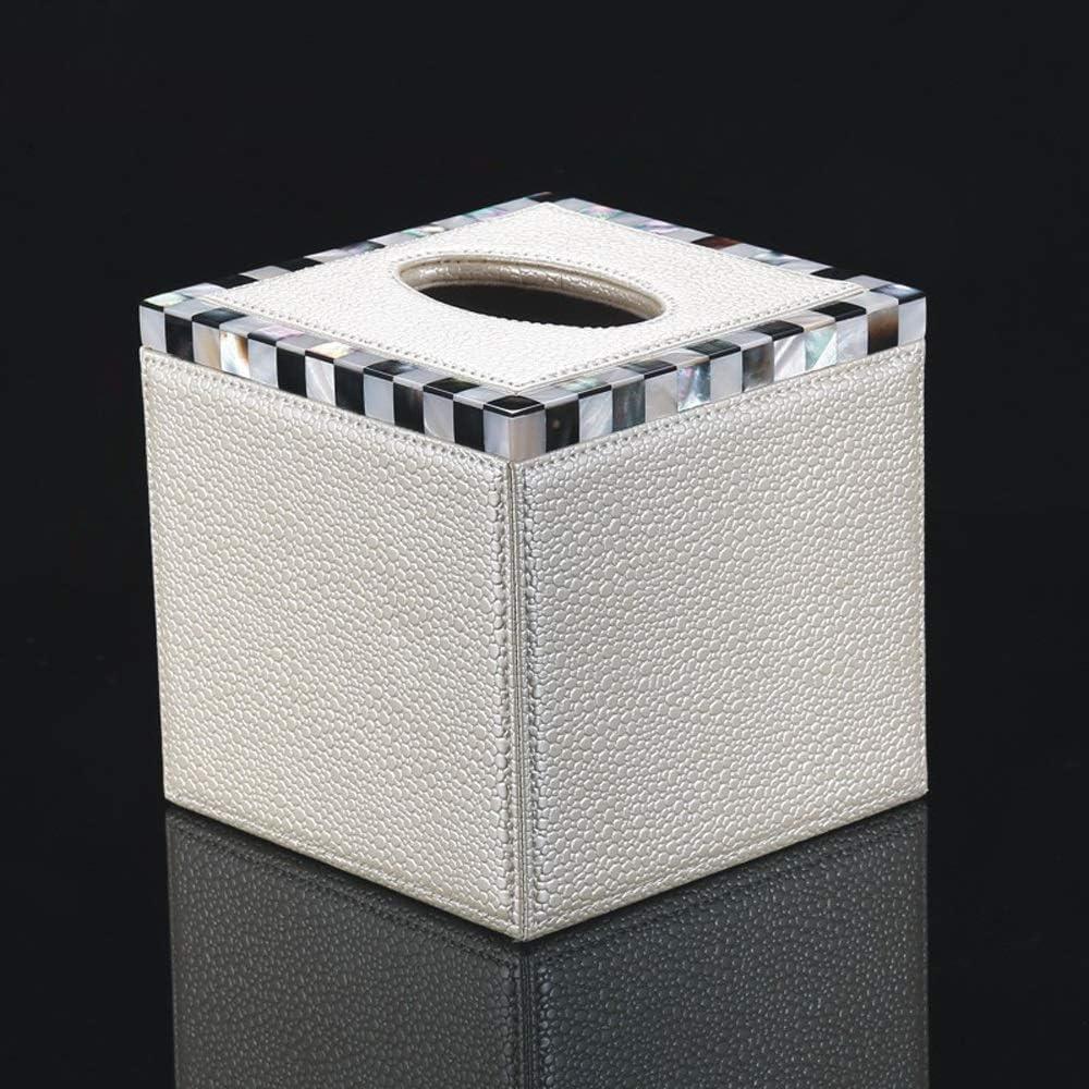 SED Caja de almacenamiento de tejidos creativos, caja de pañuelos chinos de estilo europeo, caja de servilletas de la sala de cuero, personalidad del hogar, caja de papel de concha, caja de