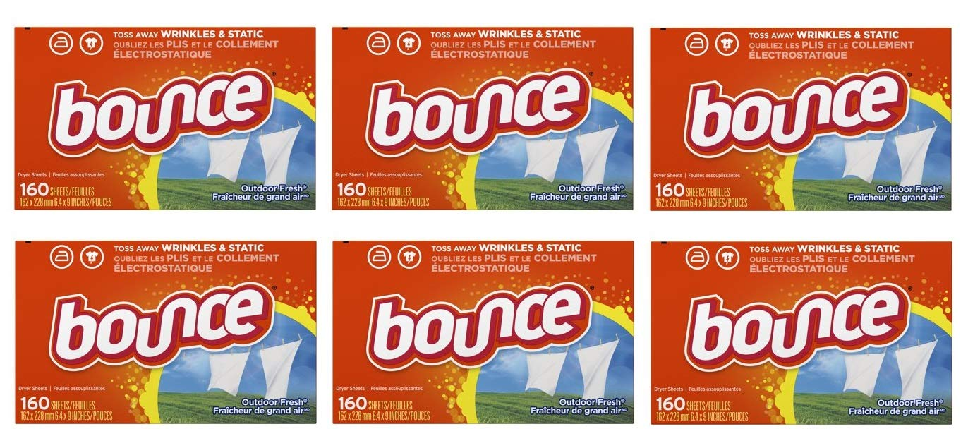 Bounce Fabric Softener Sheets, Outdoor Fresh, 160 Count (Pack of 6) by by Bounce