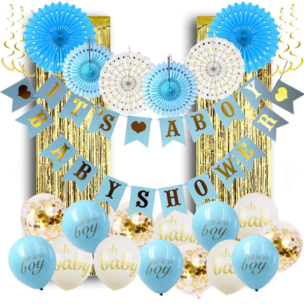 Baby Shower Decorations For Boy Its A Boy Baby Shower Hollow Paper Fan Balloons Banner Gold Foil Fringe Curtain Kit For Baby Shower Party Decoration