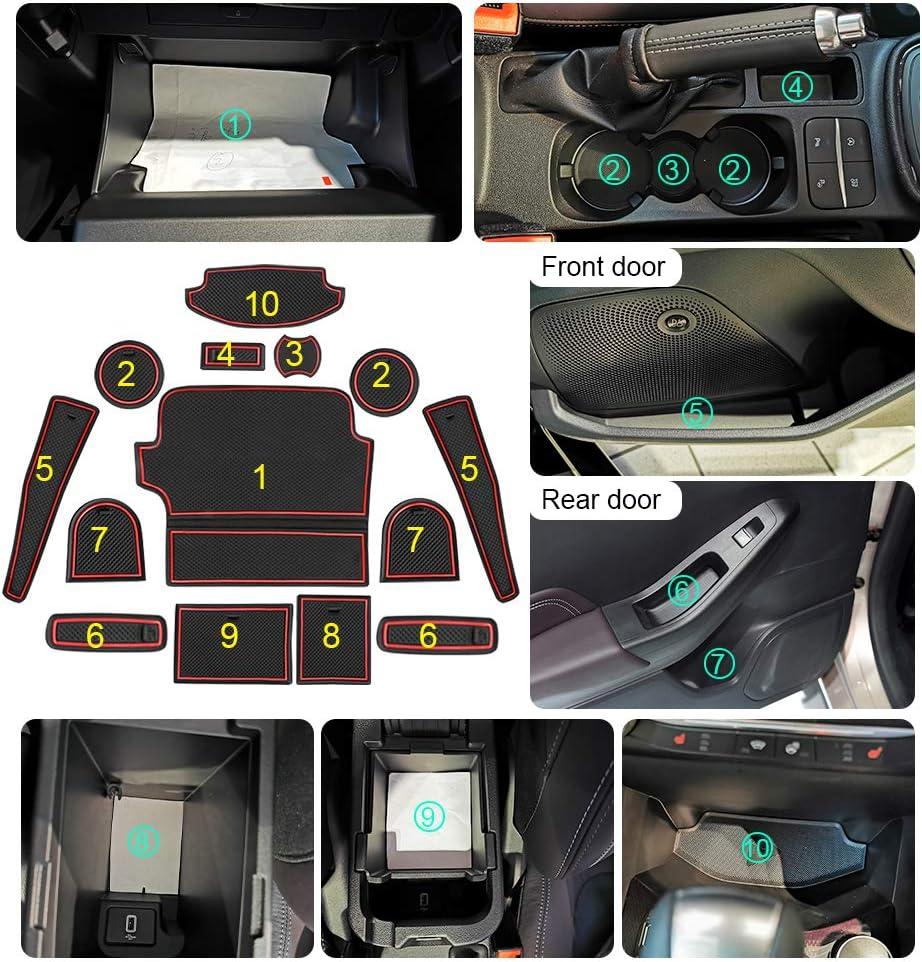 Interior Door Mats LFOTPP Fiesta ST MK8 Rubber Mats Cup Holder 14 Pieces Centre Console Anti-Slip Mats Door Slit Mat