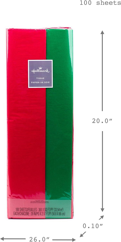 100 Hojas de Papel de Seda de Navidad Papel de Envolver de Vacaciones Hoja de Envoltura Roja Verde para Decoraci/ón de Envoltura DIY de Navidad 35 x 50 cm// 13,78 x 19,69 Pulgadas