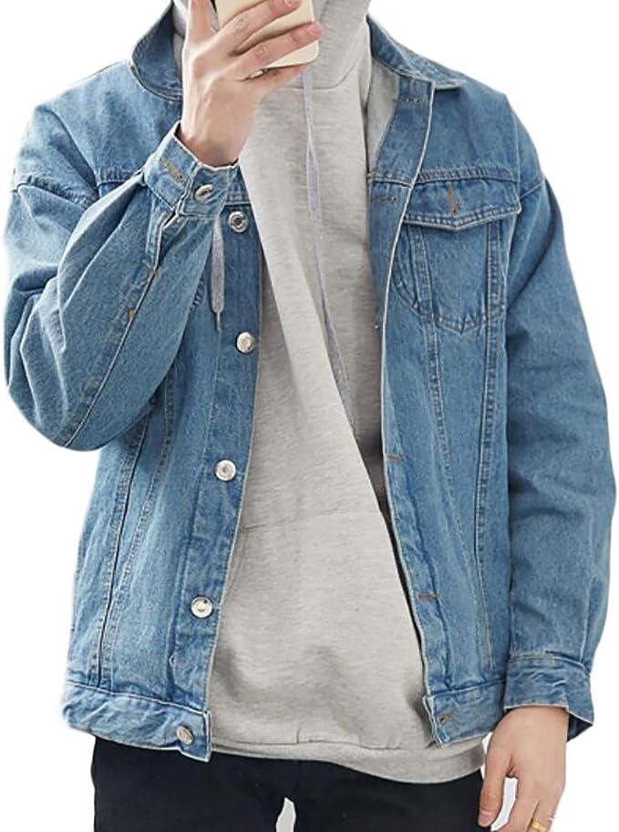UUYUK Men Short Sleeve Button Down Printed Washed Denim Shirts