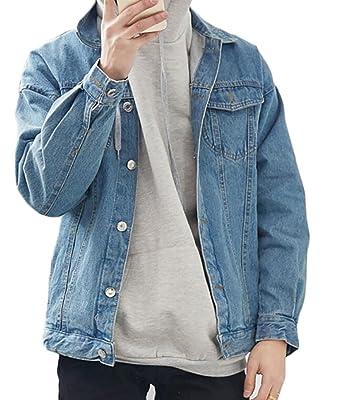 e19d6684e0 UUYUK-Men Men s Fahsion Vintage Wash Denim Jean Jacket Coats Outerwear liwu  at Amazon Men s Clothing store