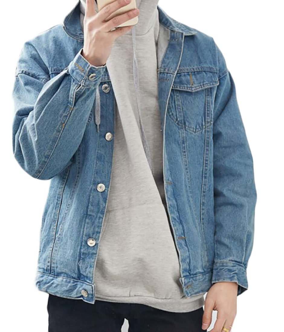 UUYUK-Men Fahsion Vintage Wash Denim Jean Jacket Coats Outerwear Light Blue US M