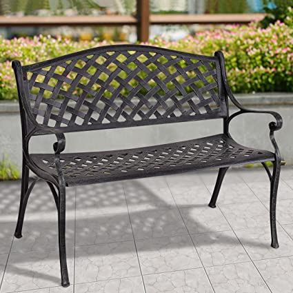 New MTN G 40u0026quot; Outdoor Antique Garden Bench Aluminum Frame Seats Chair  Patio Garden