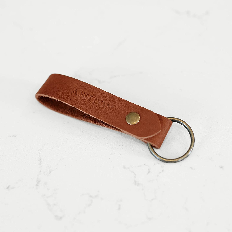 Black Leather Keychain keyring key fob Personalized Custom Initials Birthday Gift Personalised Monogram Avaloncraft