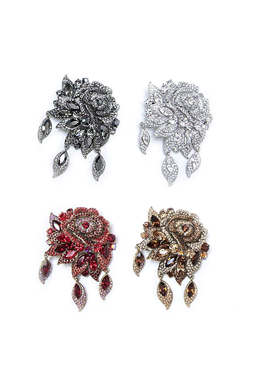 SOHO Vintage Hair Clip W// Swarovski Crystals 2 CLIPS Silver Flower Design