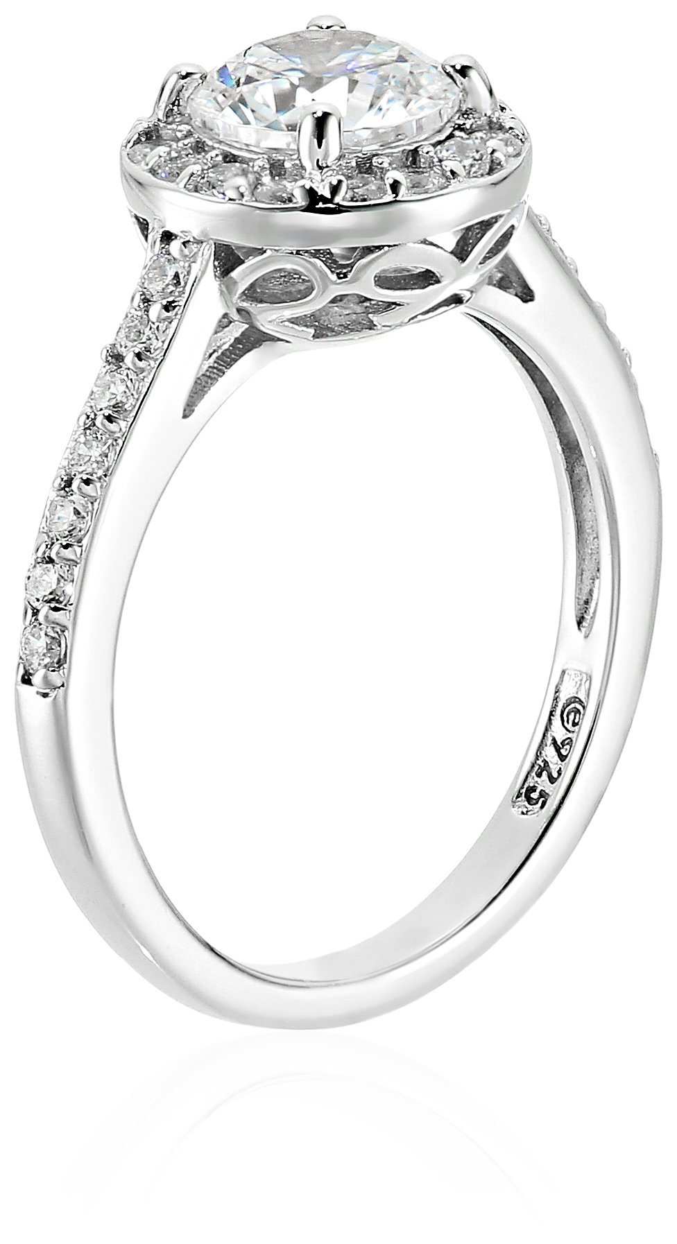 Platinum Plated Sterling Silver Wedding Ring set with Round Cut Swarovski Zirconia Centerpiece and Halo (1.5 cttw), Size 6 by Amazon Collection (Image #2)