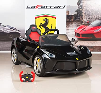 BigToysDirect 12V Ferrari LaFerrari Battery Operated Kids Ride On Car with  MP3 and Remote Control , Black