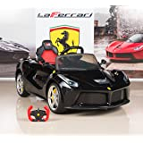 BigToysDirect 12V Ferrari LaFerrari Battery Operated Kids Ride On Car with MP3 and Remote Control - Black
