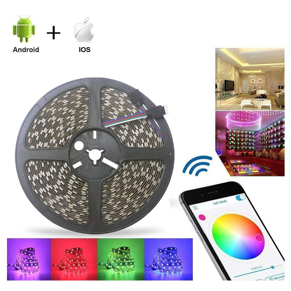 ABelle Bluetooth LED Strip Light 32.8ft RGB Non Waterproof 10M 5050 SMD LED Rope Light iOS Android Smartphone APP Controlled 16 Million Colors Adjustable For Home Kitchen Festival Decoration